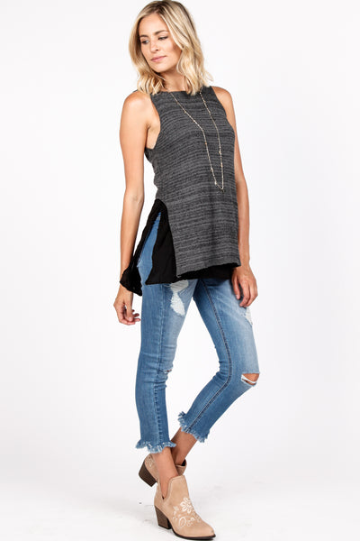 Mix Media Layered Knit Top