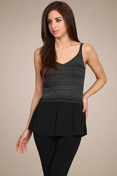 M. Rena Black V Neck Layered Tank