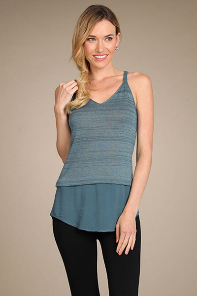 M. Rena Deep Sea V Neck Layered Tank