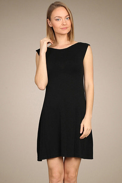 M. Rena Black Drop Shoulder Sweater Dress