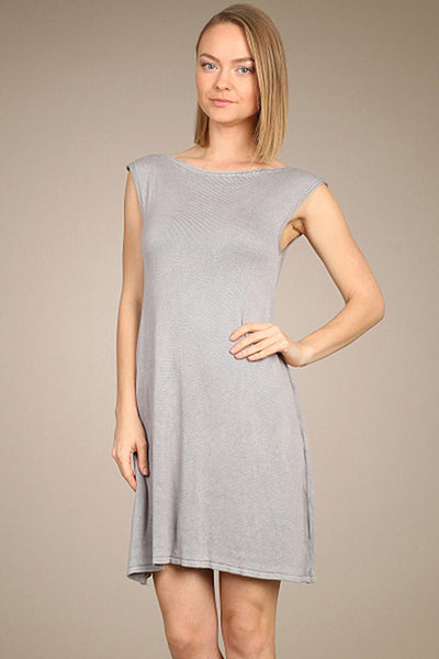 M. Rena Opal Grey Drop Shoulder Sweater Dress