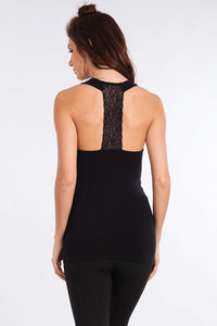 M Rena Black Tank w Lace Back Panel