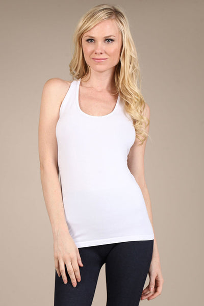 White Tank w Lace Back Panel
