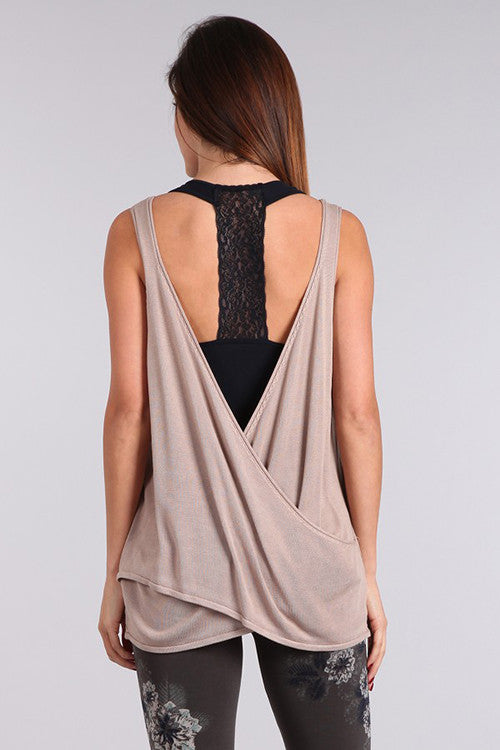 Sleeveless Open Back Surplice Tunic