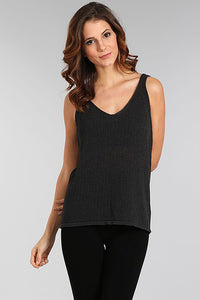 M. Rena Charcoal Pointelle Double V Neck Tank