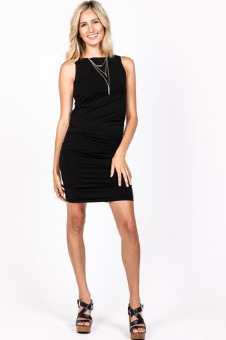 Boat Neck Sleeveless Fitted Dress