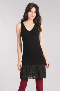 M. Rena Black Lace Trim Reversible Tank