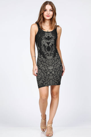 Victoria Damask Jacquard Dress
