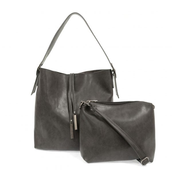 Vegan Leather Slouchy Tote - Charcoal