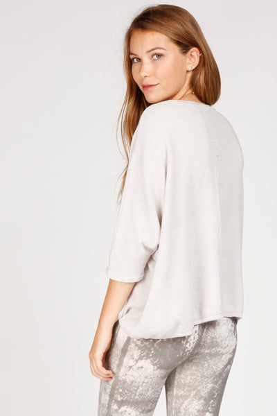 Relaxed Fit Pointelle Back Pullover