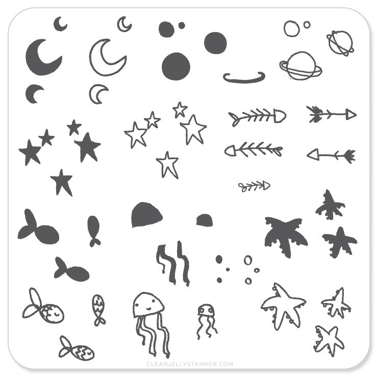 Sea and Stars Doodle (CjS-19) - Steel Stamping Plate
