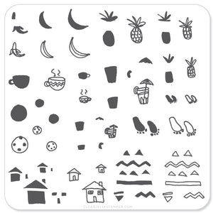 Summer Drinks and Fruit Doodle (CjS-20) - Steel Stamping Plate