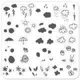 Flower and Sky Doodle (CjS-21) - Steel Stamping Plate