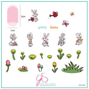 Groovy Bunny (CjSH-66) Steel Stamping Plate