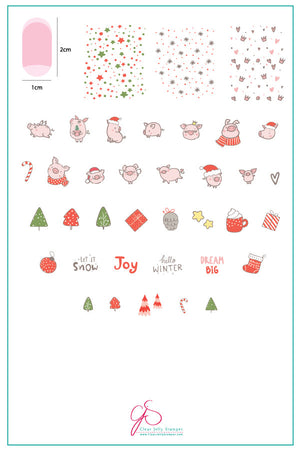 Piggy Christmas (CjS C-50) Steel Stamping Plate
