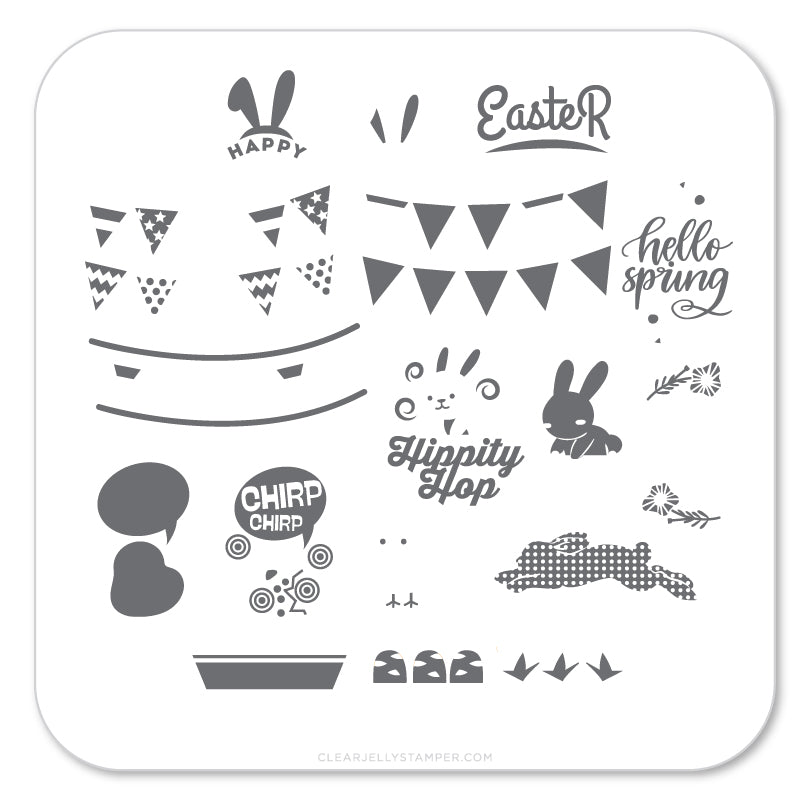 Hippity Easter (CjSH-12) Steel Stamping Plate