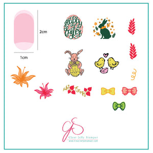 Bitty Bunnies n Blooms (CjSH-10) Steel Stamping Plate