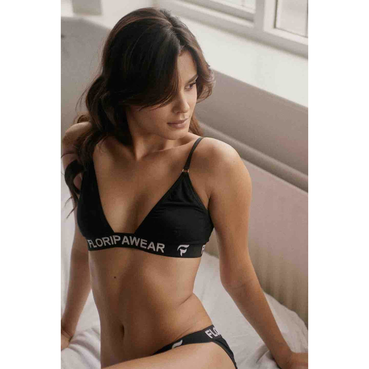 Ethical underwear UK made Black Noite bra and thong set