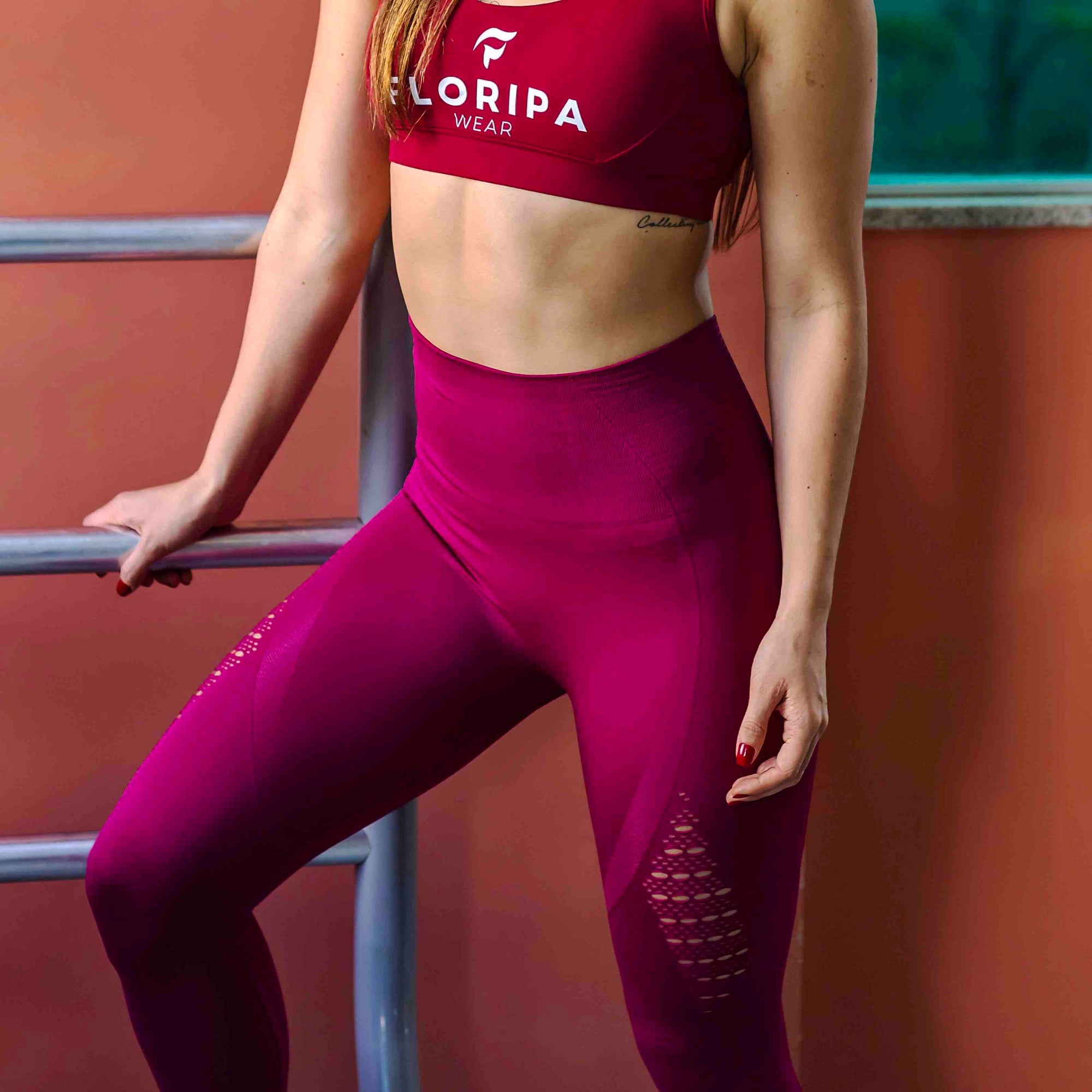 Burgundy red high waisted gym leggings - floripawear