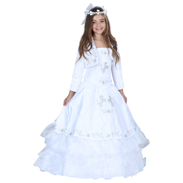 White & Silver Little Girl Charro Dress