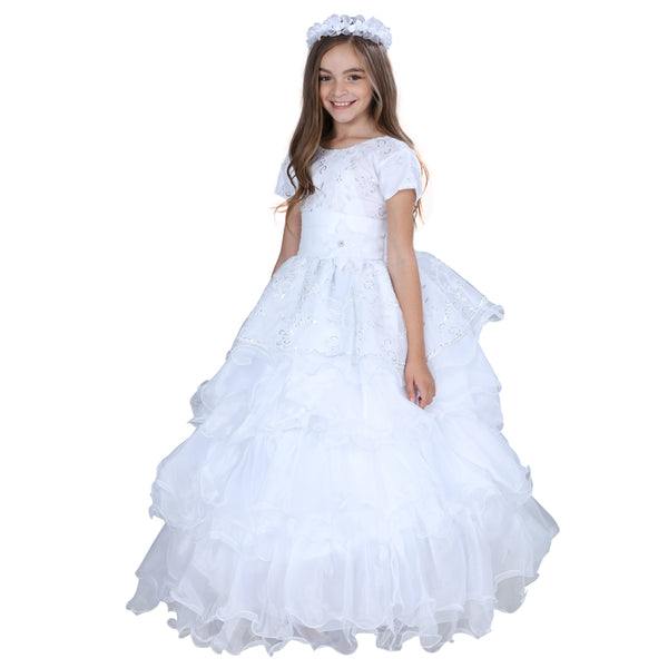 White & Silver Little Girl Dress