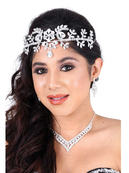 Flower Frontal Silver Headpiece