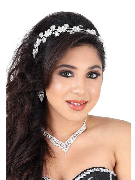 Diamond Flower Silver Headband