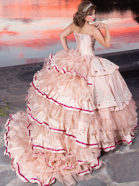 Blush & Silver Charro Quinceañera Dress
