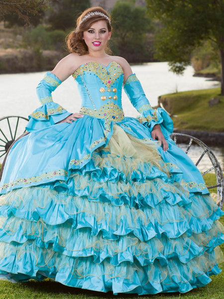 Aqua & Gold Charro Quinceañera Dress