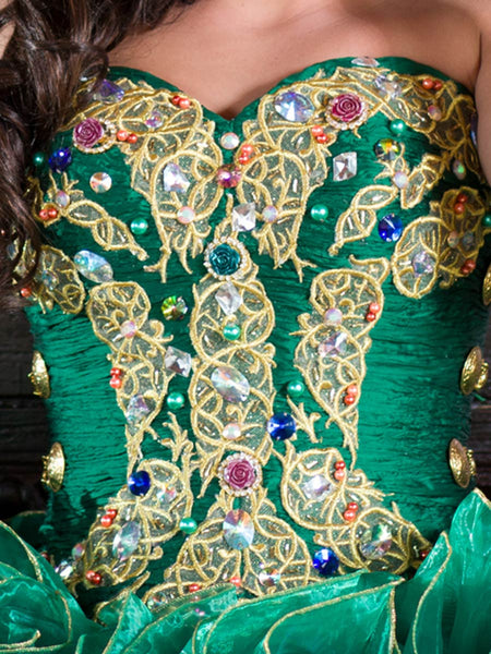 Green & Gold Charro Quinceañera Dress
