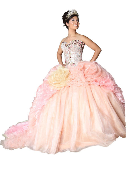 Peach & Gold Quinceañera Dress