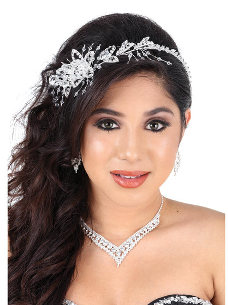 Crystal Flower Silver Headpiece
