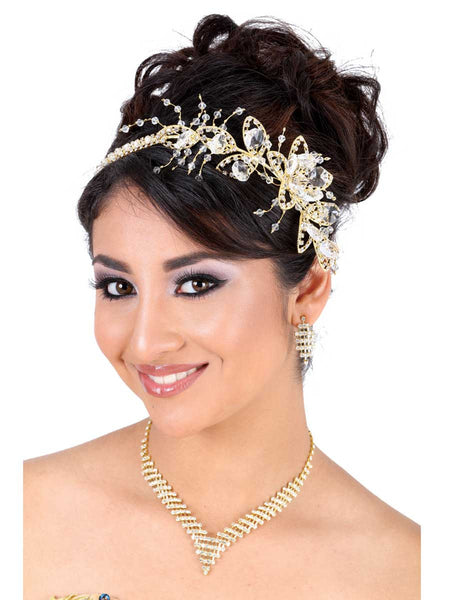 Crystal Flower Gold Headpiece