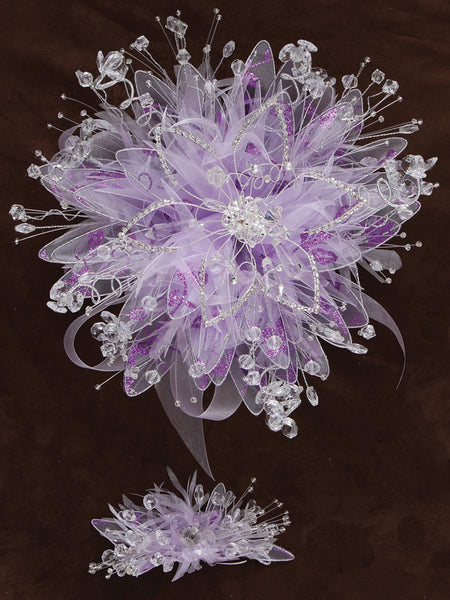 Diamond Flower/ Satin Bouquet Lila