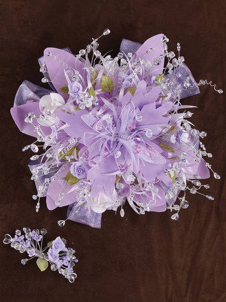 Large Flower Crystal/ Satin Bouquet Lila