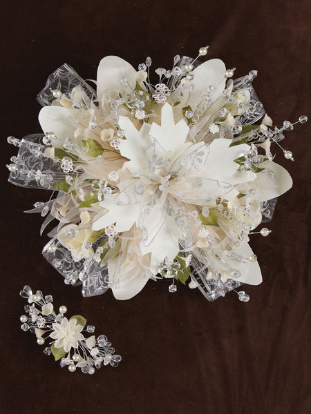 Large Flower Crystal/ Satin Bouquet Ivory
