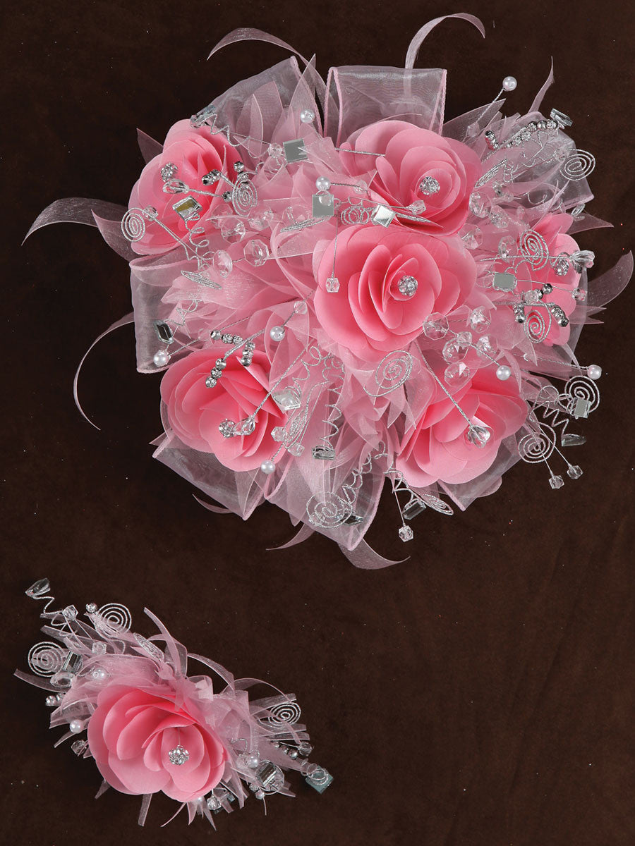 Rose & Satin Bouquet Pink