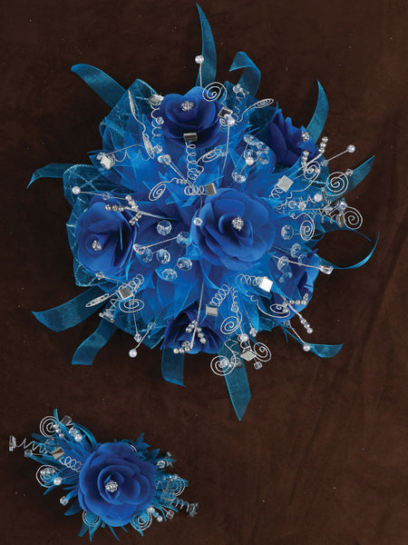Rose & Satin Bouquet Turquoise