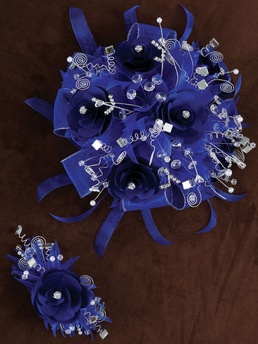 Rose & Satin Bouquet Royal Blue