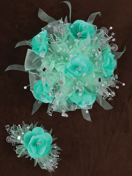 Rose & Satin Bouquet Mint