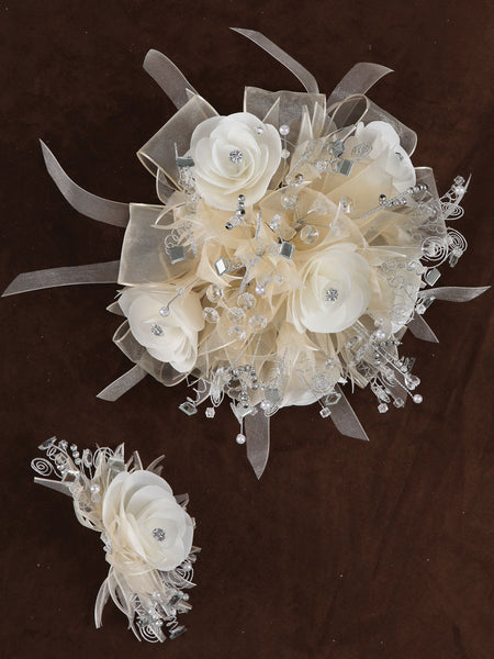 Rose & Satin Bouquet Ivory