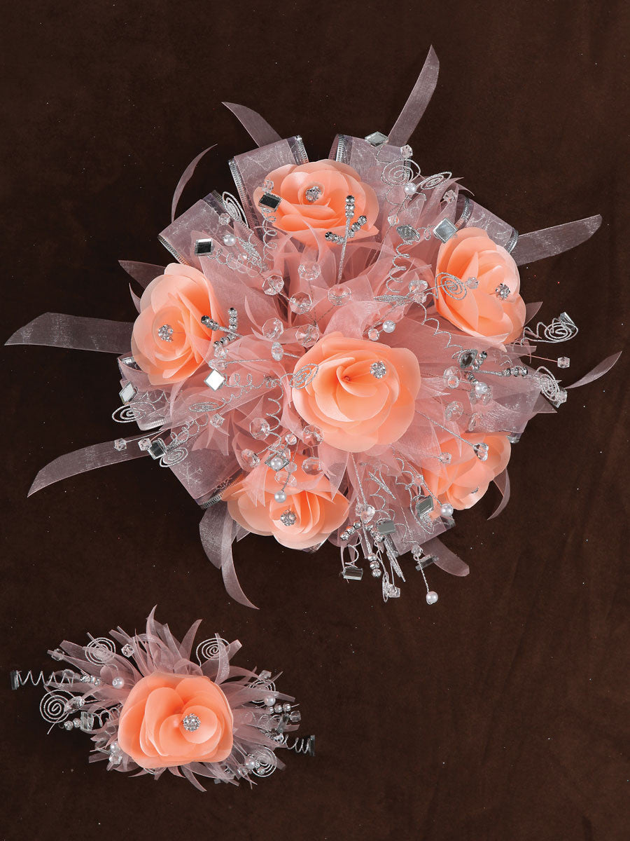 Rose & Satin Bouquet Peach