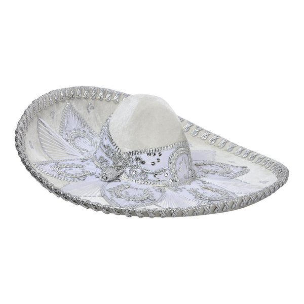 Traditional Charro Hat White & Silver