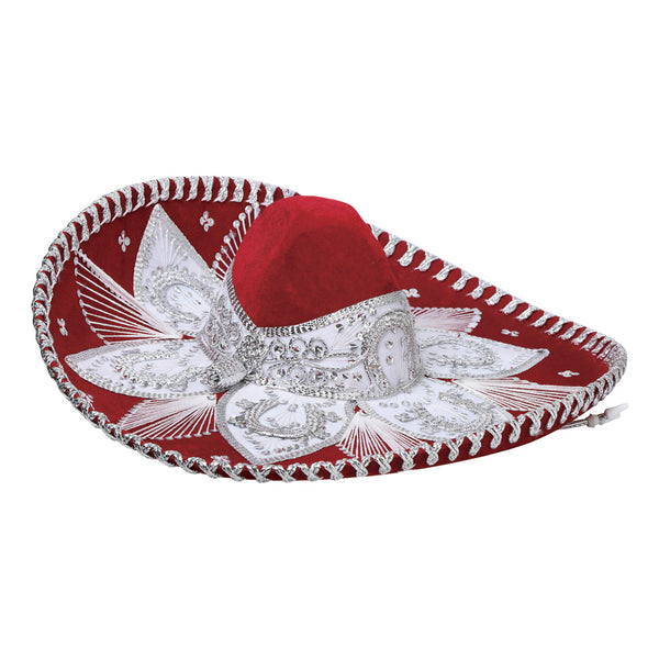 Traditional Charro Hat Red & Silver