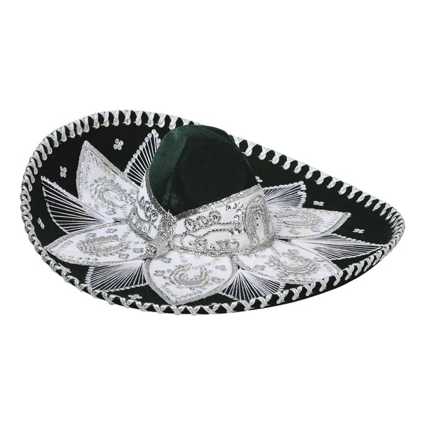 Traditional Charro Hat Hunter Green & Silver