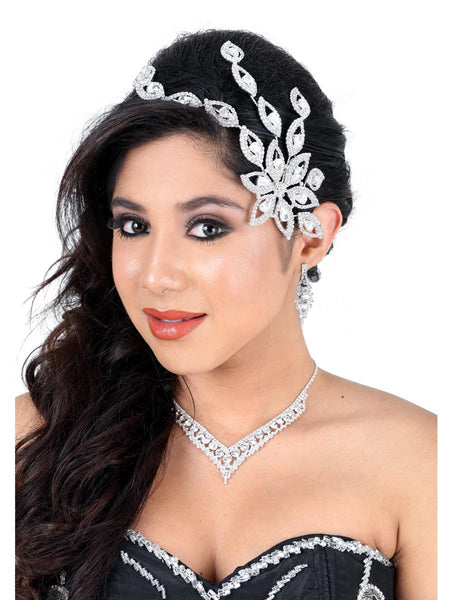 Diamond Flower Silver Headpiece