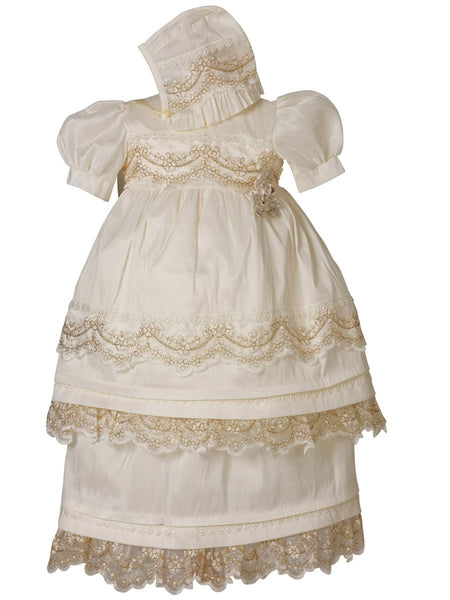 Little Girl Gold Detail Baptism Dress