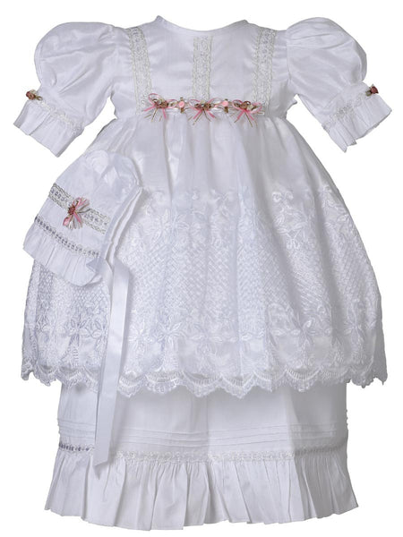 Little Girl Pink Flowers Baptism Dress