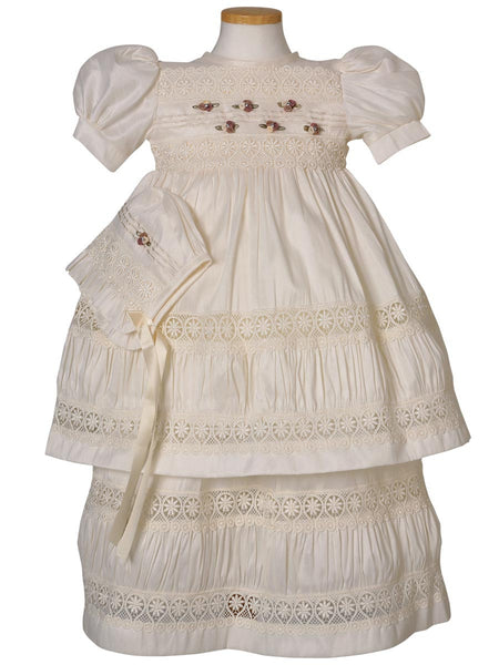 Little Girl Flower Detail Baptism Dress
