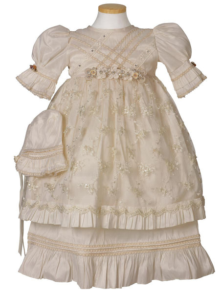 Little Girl Flower Belt Baptism Dress